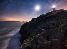 Lighthouse Punta del Torco de Afura or lighthouse Suances at night