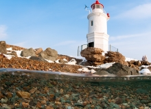 The Egersheld or Tokarevsky lighthouse was founded in 1876 and is one of the oldest beacons of the Far East.